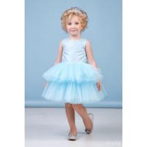 """Платье нарядное нежно-голубого цвета с многоярусной юбкой """"Фонтанчик"""""""