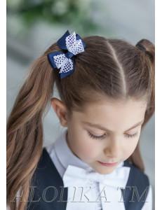 """Бант для волос синего цвета на мягкой резинке """"Тея"""" (2шт)"""