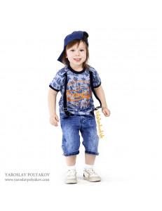 Комплект для мальчиков синего цвета bebus (шорты, футболка и кепка)