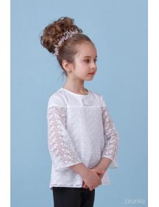 """Блузка белого цвета с удлиненным рукавом из кружева """"Клёш»"""