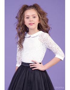"""Блузка белого цвета из гипюра с рукавом 5/8 """"Цветы"""""""
