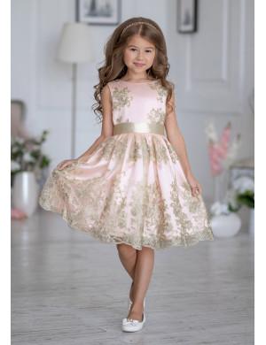 Платье нарядное розового цвета с вышивкой золото Царина